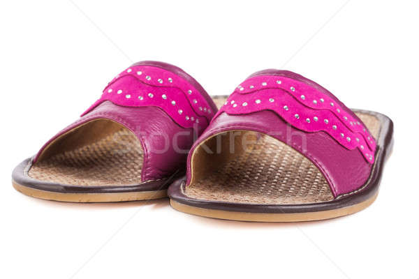 Pár rózsaszín ház házi cipők hotel ágy Stock fotó © alexandkz