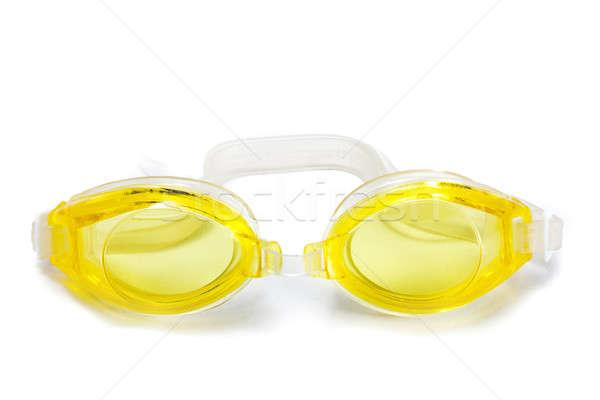 úszik védőszemüveg citromsárga izolált fehér sport Stock fotó © alexandkz