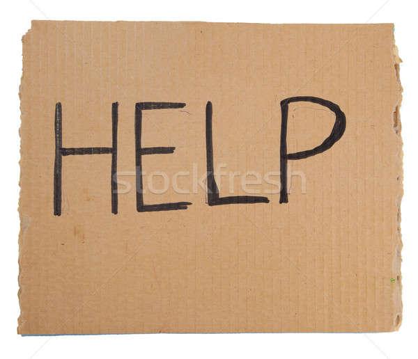 Help sos scrivere strappato cartone segno Foto d'archivio © alexandkz