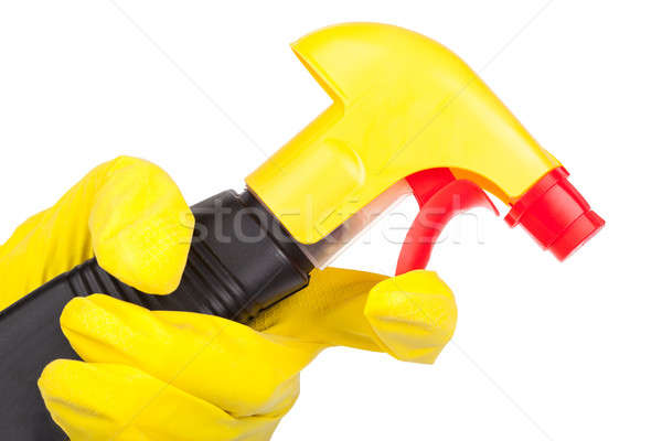 Hands in rubber gloves holding cleaning spray. isolated on white Stock photo © alexandkz