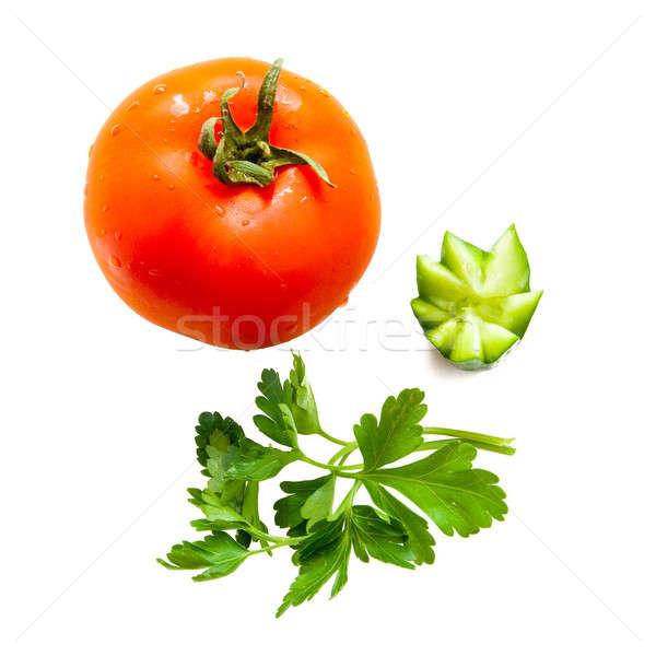 Vermelho maduro tomates isolado branco água Foto stock © alexandkz