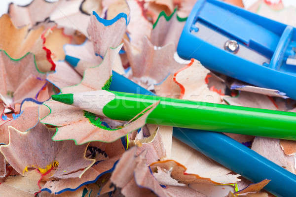Colored pencil shavings and sharpener Stock photo © alexandkz