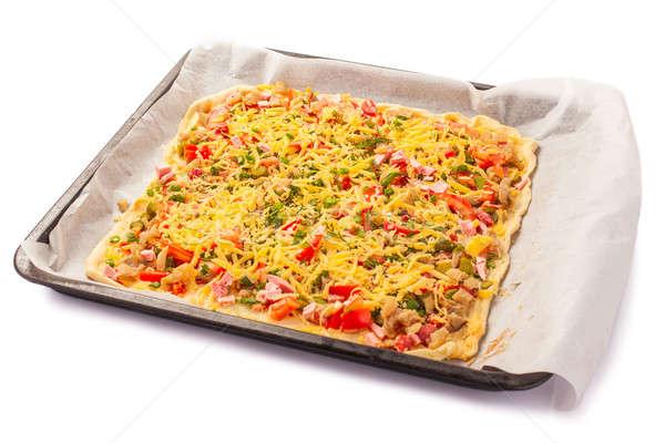 Pizza and italian kitchen. Studio. Isolated on white background. Stock photo © alexandkz