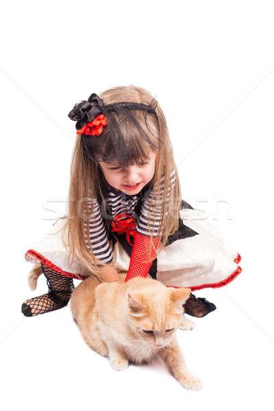 Petite fille pirate chat isolé bébé sourire Photo stock © alexandkz