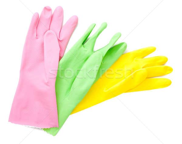Eldiven renkli lastik eldiven yalıtılmış mutfak cilt Stok fotoğraf © alexandkz