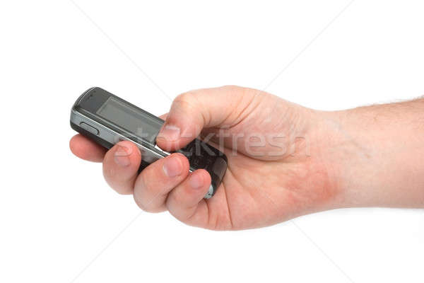Mão telefone homem velho isolado Foto stock © alexandkz