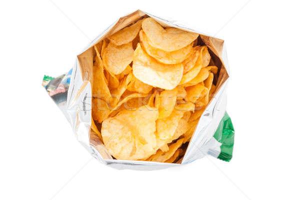 Zak chips geïsoleerd witte aardappel chip Stockfoto © alexandkz