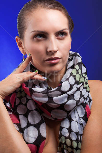 Portrait belle Nice femme écharpe fille Photo stock © alexandkz