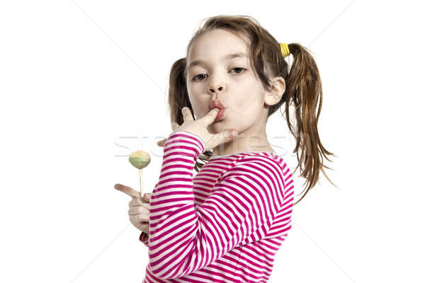Stok fotoğraf: Küçük · kız · beyaz · çok · güzel · lolipop · yalıtılmış