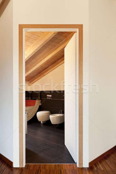 Interior novo sótão ver banheiro porta Foto stock © alexandre_zveiger