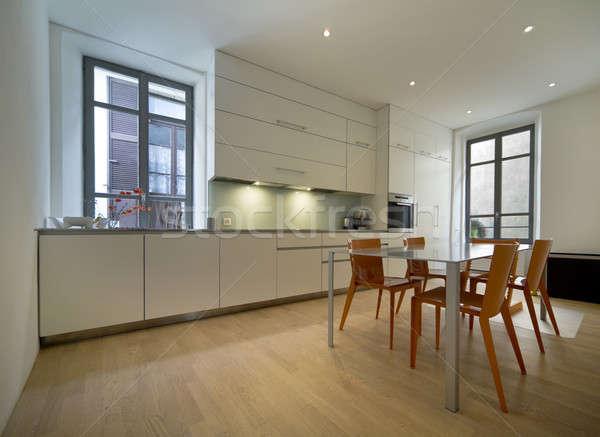 現代 明るい キッチンのインテリア スペース 表 家具 ストックフォト © alexandre_zveiger