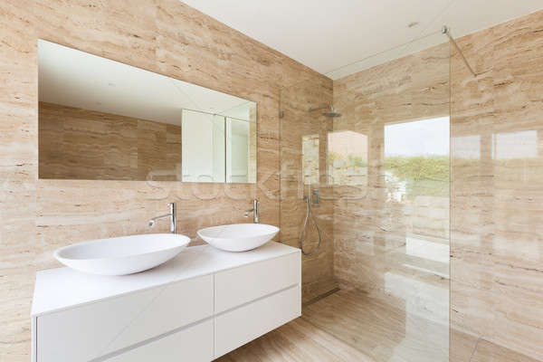 Moderne badkamer mooie marmer muren huis Stockfoto © alexandre_zveiger