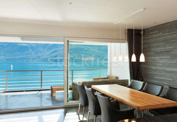 Interieur moderne architectuur appartement breed eetkamer Stockfoto © alexandre_zveiger