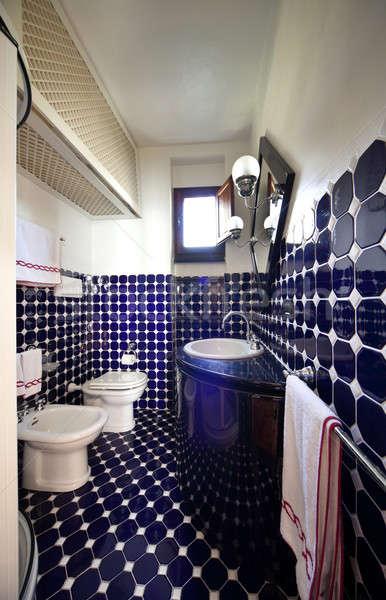 White and blue tiled bathroom  Stock photo © alexandre_zveiger