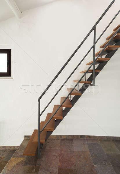 Iç rustik ev ev dik merdiven Stok fotoğraf © alexandre_zveiger