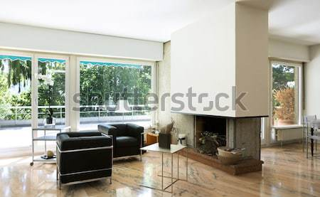 Bent építészet modern házbelső ház nappali Stock fotó © alexandre_zveiger