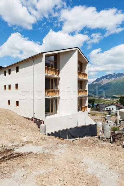 Hegy társasház építkezés szabadtér üzlet épület Stock fotó © alexandre_zveiger