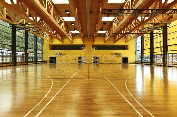 Gebouw openbare school muur basketbal Stockfoto © alexandre_zveiger
