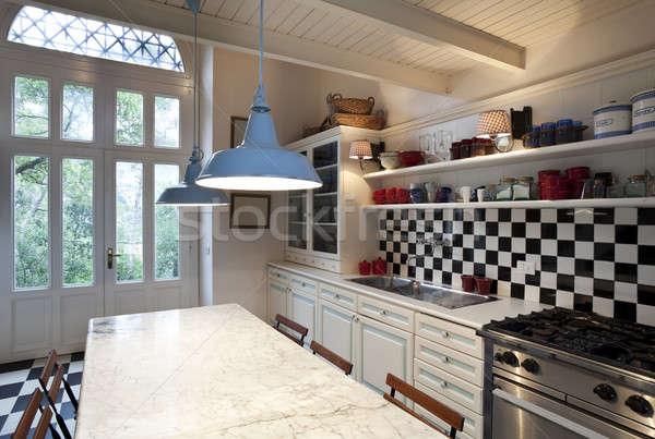 Rustiek keuken interieur schaakbord vloer huis home Stockfoto © alexandre_zveiger
