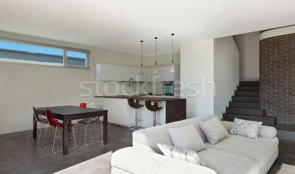 Házbelső nappali konyha építészet modern terv Stock fotó © alexandre_zveiger