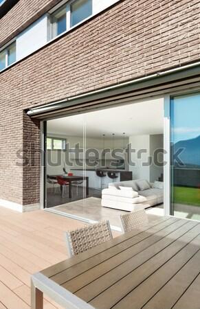 Erkély tető építészet fapadló felső padló Stock fotó © alexandre_zveiger