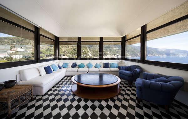 Seaside livingroom with characteristic chessboard floor Stock photo © alexandre_zveiger