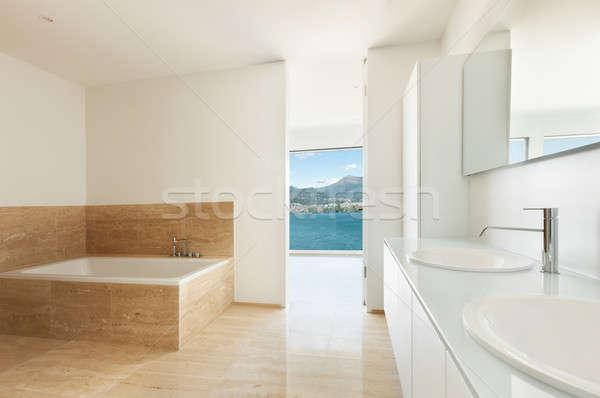 Badkamer marmer vloer interieur moderne huis Stockfoto © alexandre_zveiger