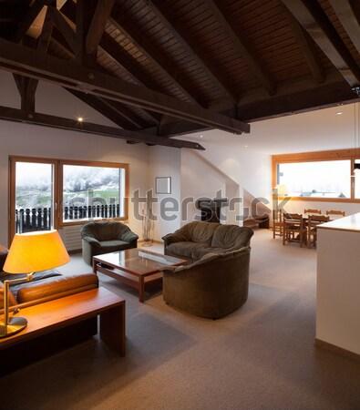Nova casa interiores sótão garfo moderno apartamento Foto stock © alexandre_zveiger