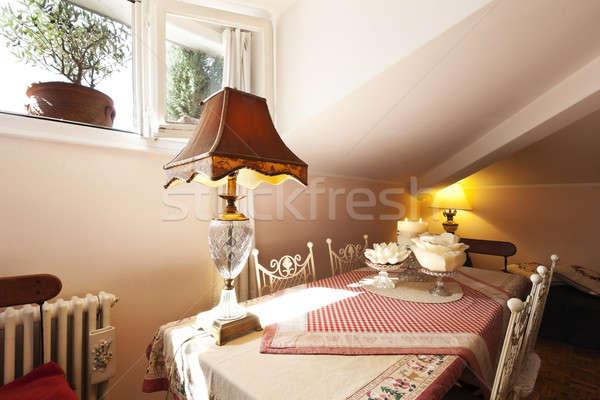Iç güzel daire küçük çatı katı duvar Stok fotoğraf © alexandre_zveiger