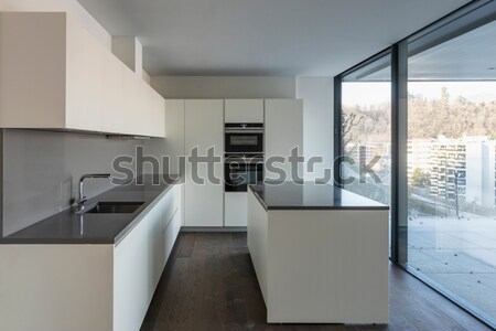 beautiful empty apartment, white kitchen Stock photo © alexandre_zveiger