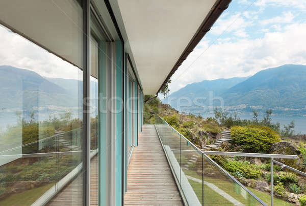 Berg huis outdoor moderne architectuur home glas Stockfoto © alexandre_zveiger
