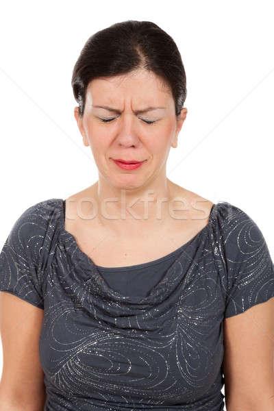 女性 白 悲しい グレー ブラウス 肖像 ストックフォト © alexandre_zveiger