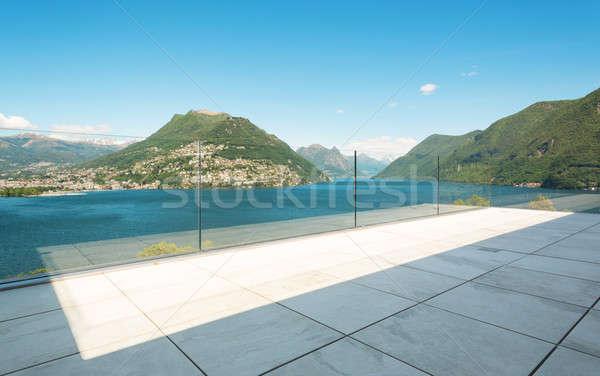 Edifício moderno terraço belo lago ver projeto Foto stock © alexandre_zveiger