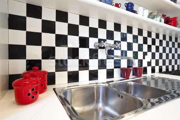 Chessboard tiles kitchen detail Stock photo © alexandre_zveiger