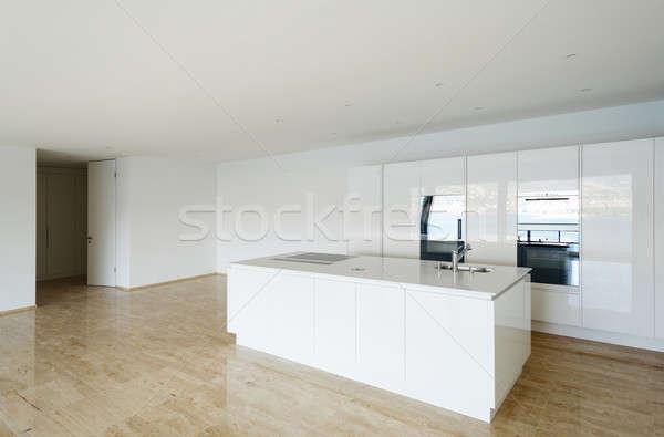 Belo vazio apartamento branco cozinha piso de madeira Foto stock © alexandre_zveiger