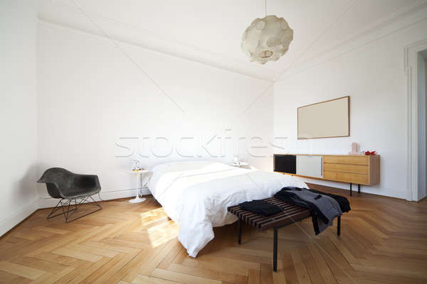 Vintage apartment furnished, bedroom Stock photo © alexandre_zveiger