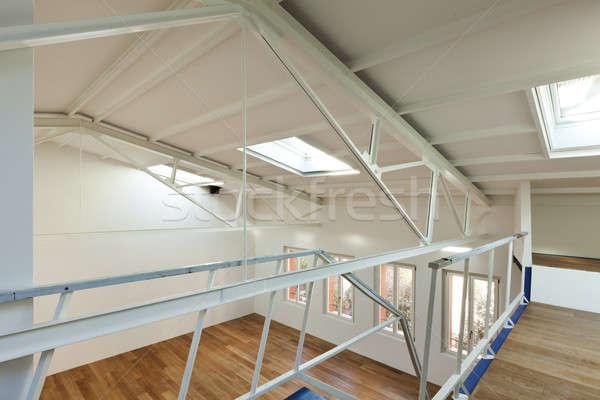 Modern daire dizayn çatı katı tasarımcı ahşap Stok fotoğraf © alexandre_zveiger