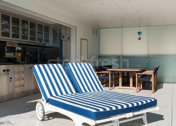 屋外 2 サンベッド アーキテクチャ テラス ペントハウス ストックフォト © alexandre_zveiger