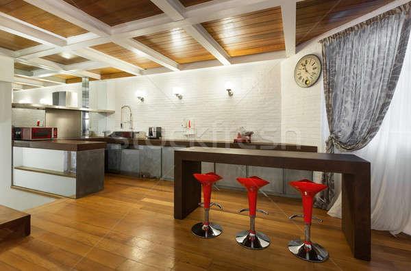 Belle grenier ouvrir cuisine architecture large Photo stock © alexandre_zveiger