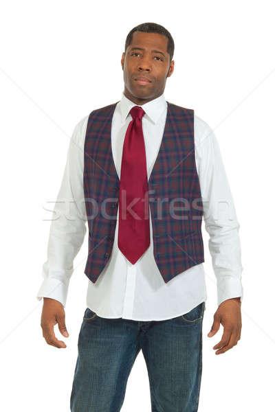Siyah adam beyaz öğrenci arka plan iş adamı portre Stok fotoğraf © alexandre_zveiger
