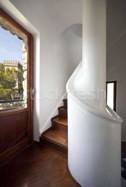 átjáró lépcsőház bent fapadló ház fa Stock fotó © alexandre_zveiger