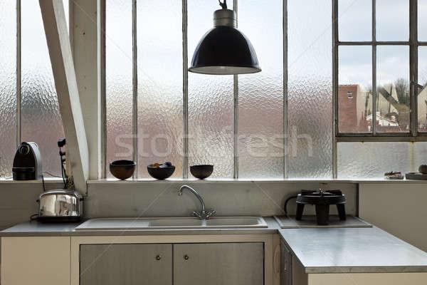 Vieux grenier intérieur belle cuisine maison Photo stock © alexandre_zveiger