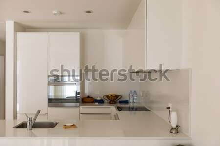 Moderne heldere keuken interieur tabel kamer meubels Stockfoto © alexandre_zveiger