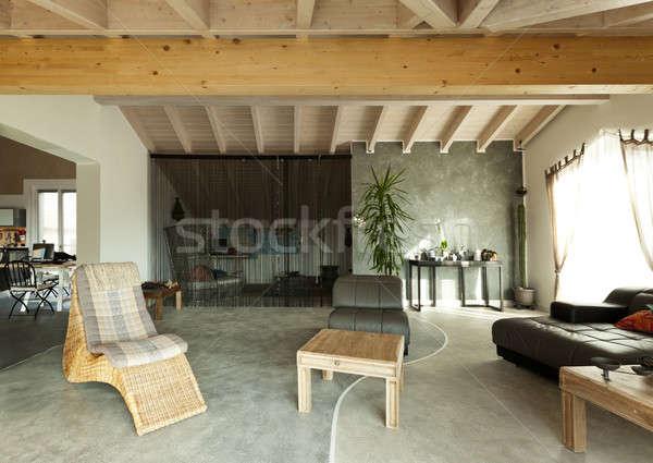 Interior novo sótão étnico mobiliário sala de estar Foto stock © alexandre_zveiger