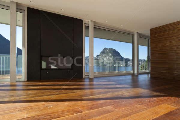 Modern ház gyönyörű penthouse tó kilátás Stock fotó © alexandre_zveiger