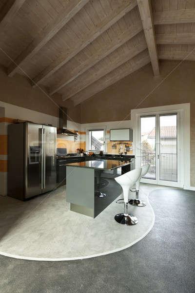 Iç yeni çatı katı mutfak ada ev Stok fotoğraf © alexandre_zveiger