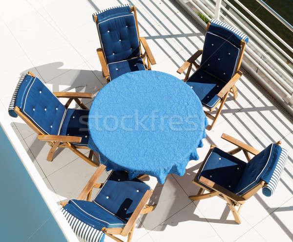 Azul tabela cadeiras terraço penthouse topo Foto stock © alexandre_zveiger