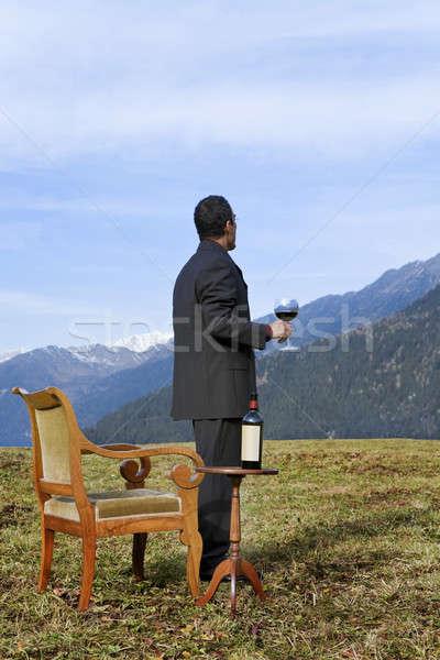 weird elegant wine's expert into the wild  Stock photo © alexandre_zveiger