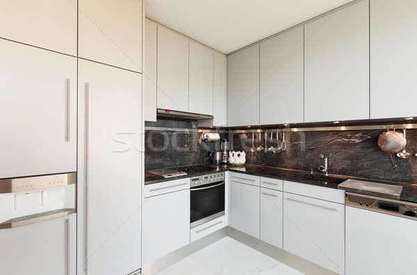 Innenraum · weiß · Küche · Interieur · modernen · Haus ...