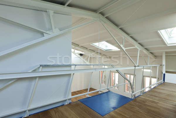 Moderne appartement ontwerp vliering ontwerper hout Stockfoto © alexandre_zveiger